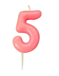 Schimmernde Glitzer Zahlenkerze 5 in Rosa