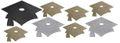 12 Glitzer Pappschilder Doktorhut in Silber Gold und Schwarz