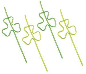 4 gebogene Trinkhalme St. Patricks Day Kleeblatt
