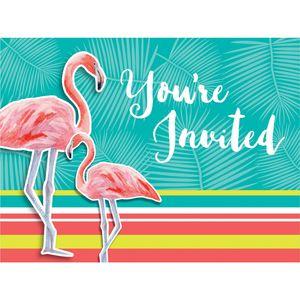 8 Einladungskarten Flamingo Island