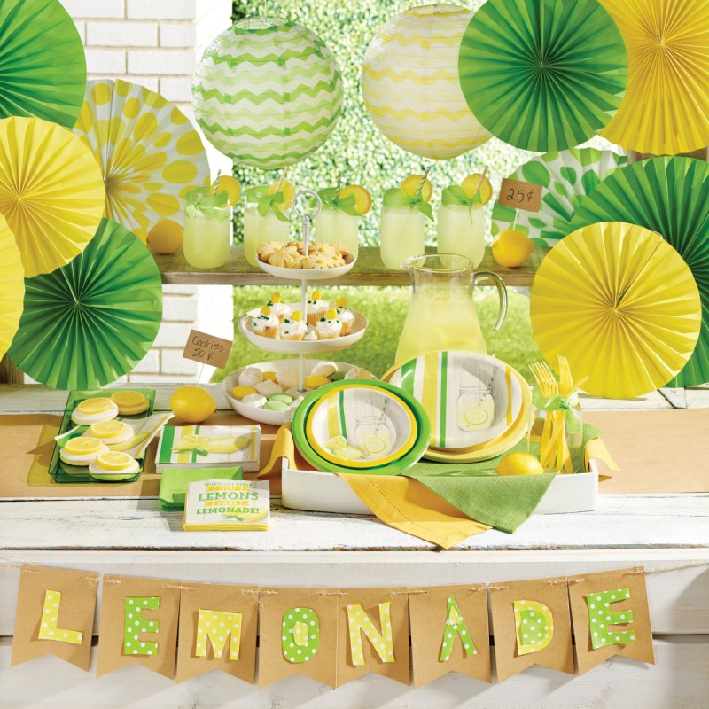 32 teile limonaden party deko set sommer party 8 personen. Black Bedroom Furniture Sets. Home Design Ideas