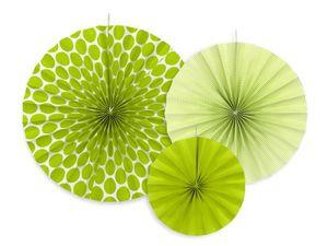 3 hängende Dekofächer Grün Muster