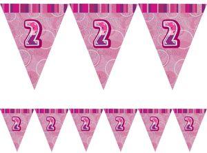 2. Geburtstag Wimpel Girlande Pink