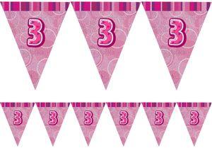 3. Geburtstag Wimpel Girlande Pink