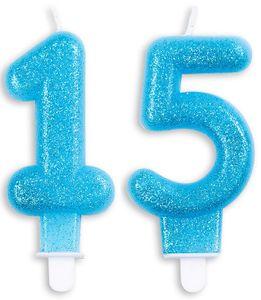 Blaue Glitzer Zahlenkerzen 15