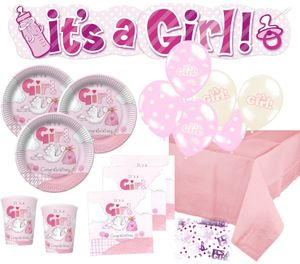 XXL 67 Teile Baby Shower Deko Set Rosa Storch 16 Personen – Bild 1