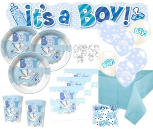 67 Teile Baby Shower Deko Set Storch Hellblau 16 Personen – Bild 1