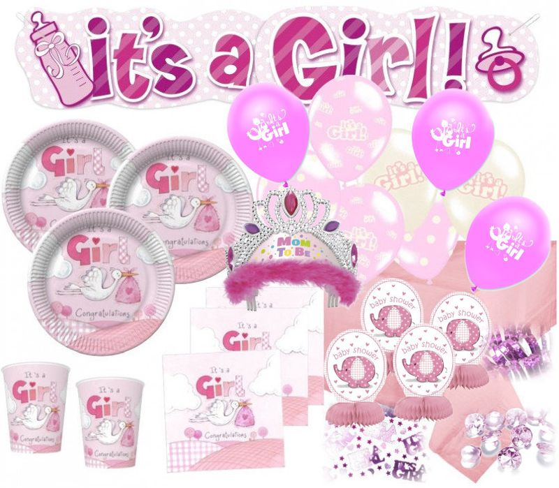 Xxl 79 Teile Baby Shower Deko Set Rosa Storch 16 Personen