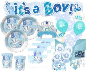 XXL 79 Teile Baby Shower Deko Set Storch Hellblau 16 Personen - Babyparty Junge – Bild 1