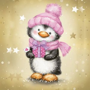 16 Servietten Baby Pinguin Rosa - Winter