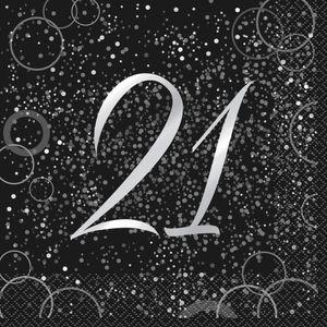 21. Geburtstag 16 Servietten in Schwarz Silber foliert