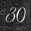 30. Geburtstag 16 Servietten in Schwarz Silber foliert