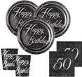50. Geburtstag 16 Servietten in Schwarz Silber foliert