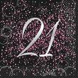 21. Geburtstag 16 Servietten in Schwarz Pink foliert