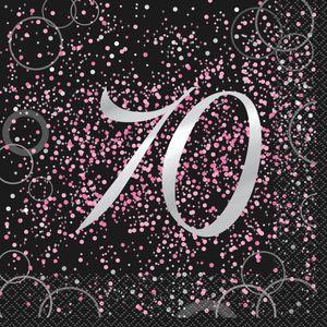 70. Geburtstag 16 Servietten in Schwarz Pink foliert