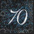 70. Geburtstag 16 Servietten in Schwarz Blau foliert