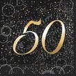 50. Geburtstag 16 Servietten in Schwarz Gold foliert