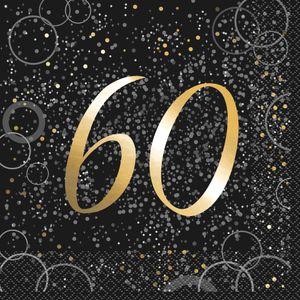 60. Geburtstag 16 Servietten in Schwarz Gold foliert