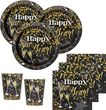48 Teile Silvester und Neujahrs Glittering Gold Happy New Year Deko Set 16 Personen
