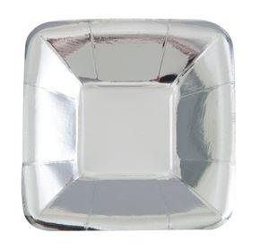 8 kleine quadratische Appetizer Teller Silber Glanz