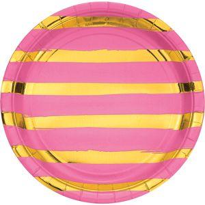 8 Teller in Pink mit Gold gestreiften Glanz Applikationen