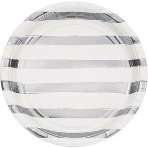 8 Teller in Weiß mit Silber gestreiften Glanz Applikationen