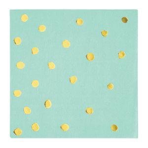 16 kleine Mint mit Gold gepunktete Servietten mit Glanz Applikationen