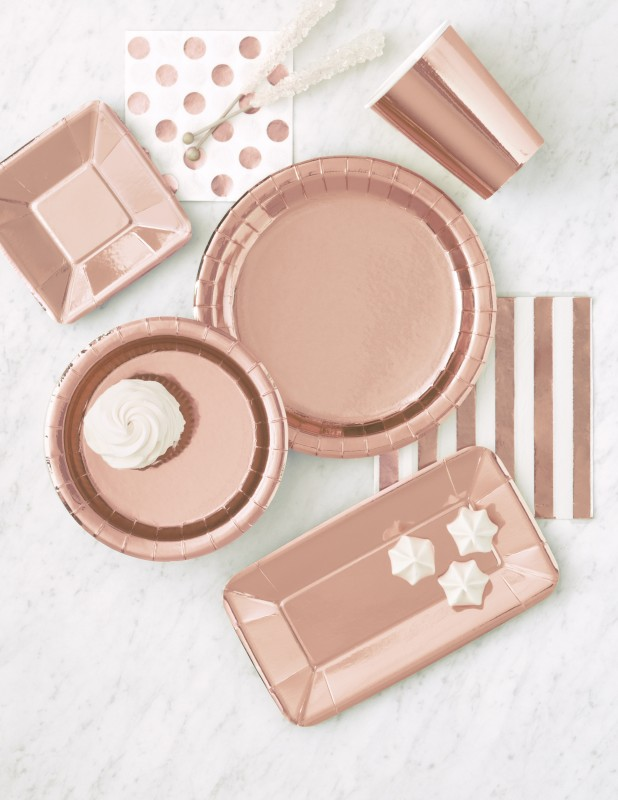 Rosegold Dekoration 32 teile party deko set rose gold glanz für 8 personen - roségold