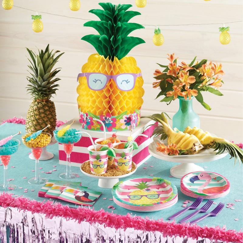 32 teile ananas und freunde sommer party deko basis set f r 8 kinder. Black Bedroom Furniture Sets. Home Design Ideas
