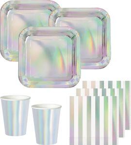 32 Teile Party Deko Set Irisierend Glanz für 8 Personen holografisch