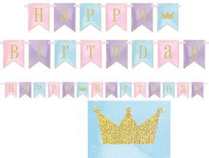 Glitzer Geburtstags Girlande am rosa Satinband Märchen Prinzessin