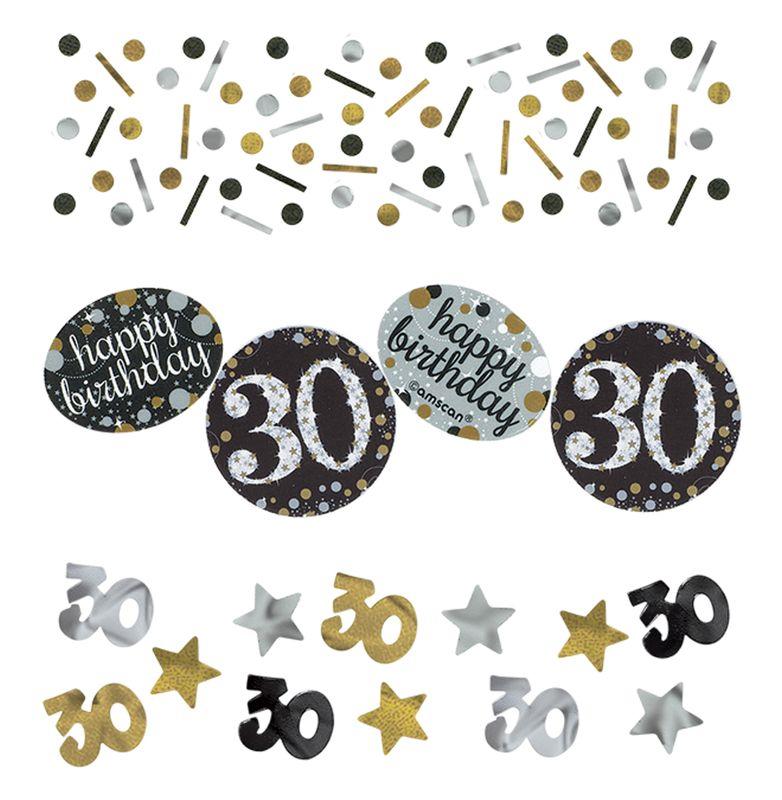 deko konfetti 30 geburtstag in silber und gold glitzer. Black Bedroom Furniture Sets. Home Design Ideas