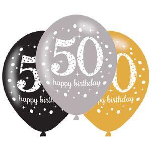6 Luftballons Gold und Silber 50. Geburtstag