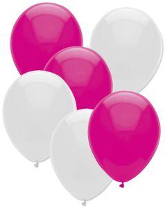 6 Luftballons Pink und Weiß Mix