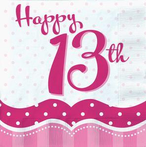 18 Servietten Perfectly Pink zum 13. Geburtstag