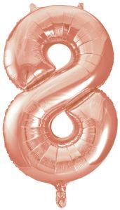 XXL Folien Ballon in Form der Zahl 8 in Rosegold
