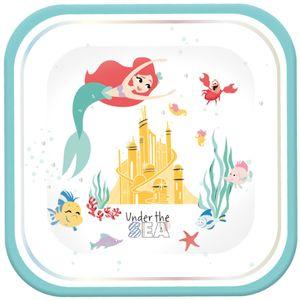 4 quadratische Glitzer Teller Arielle die Meerjungfrau Deluxe – Bild 1