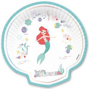 4 Glitzer Teller in Muschel Form Arielle die Meerjungfrau Deluxe – Bild 1