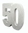Deko Glitzer Zahl 50. Geburtstag Silber