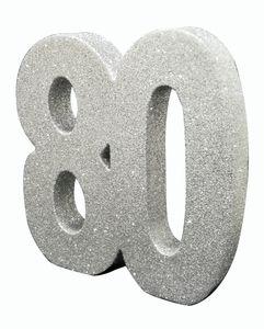 Deko Glitzer Zahl 80. Geburtstag Silber