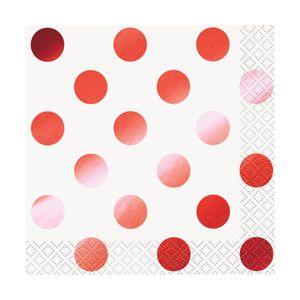 16 kleine Servietten weiß und Hochglanz Rot gepunktet