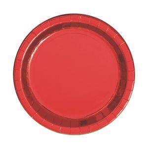 8 kleine Papp Teller Hochglanz Rot – Bild 1