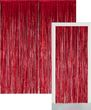 Glitzer Fransen Party Vorhang in Rot Metallic - Fotobox 2,4 Meter lang