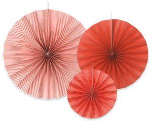 3 hängende Dekofächer Rot mit Muster