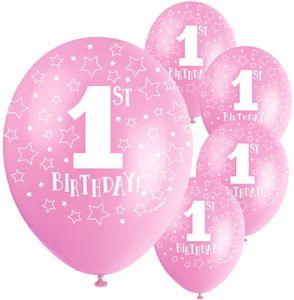 5 rosa Luftballons Erster Geburtstag Zahl 1