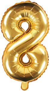 Folienballon Zahl 8 Gold Metallic 35 cm