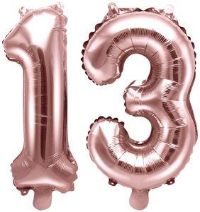 [Paket] Folienballons Zahl 13 Rosegold Metallic 35 cm