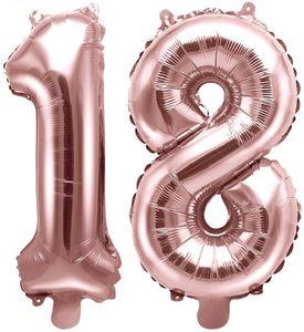 [Paket] Folienballons Zahl 18 Rosegold Metallic 35 cm