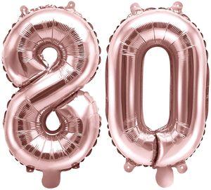[Paket] Folienballons Zahl 80 Rosegold Metallic 35 cm