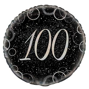 100. Geburtstag Folien Ballon Schwarz Silber